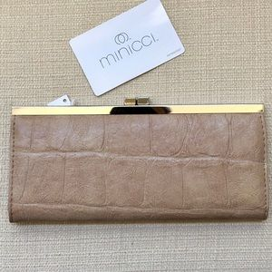 NWT Minicci Croco Embossed Faux Leather Wallet